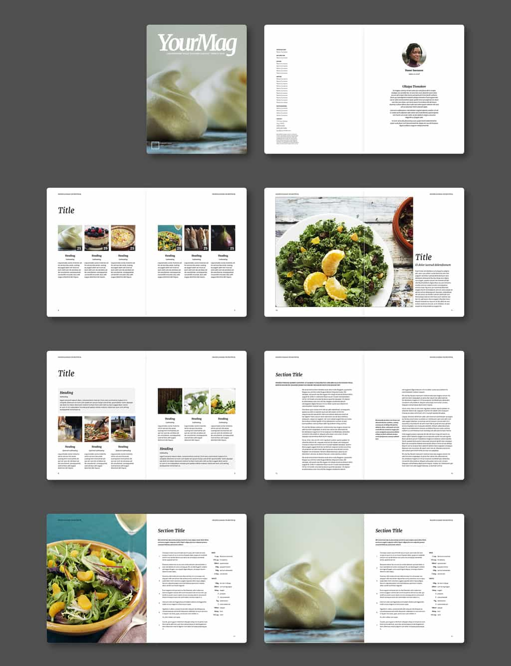 Free InDesign Food Magazine Template Preview