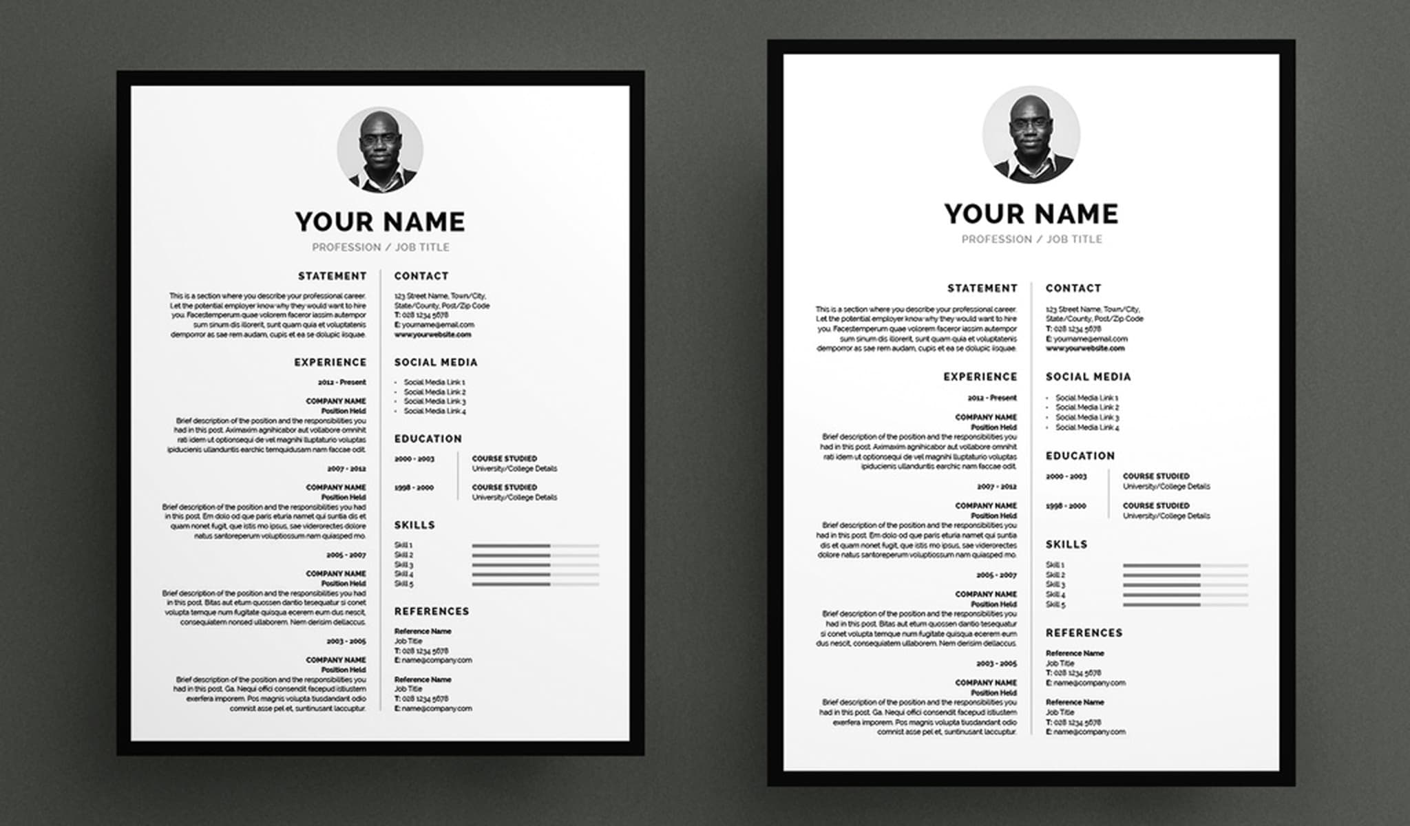 Bordered Resume and Cover Letter Layout