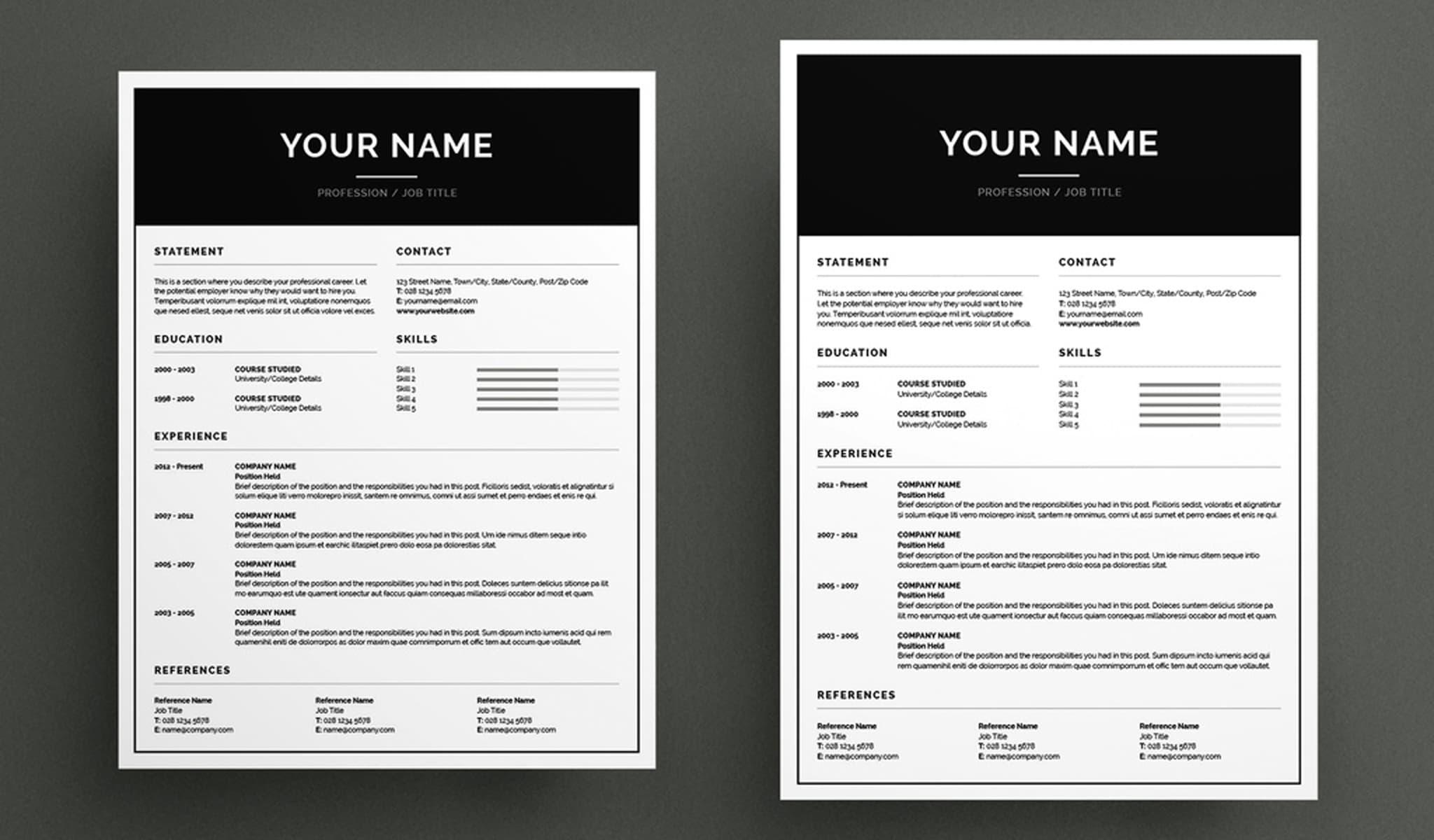 Basic Resume template and Cover Letter Layout