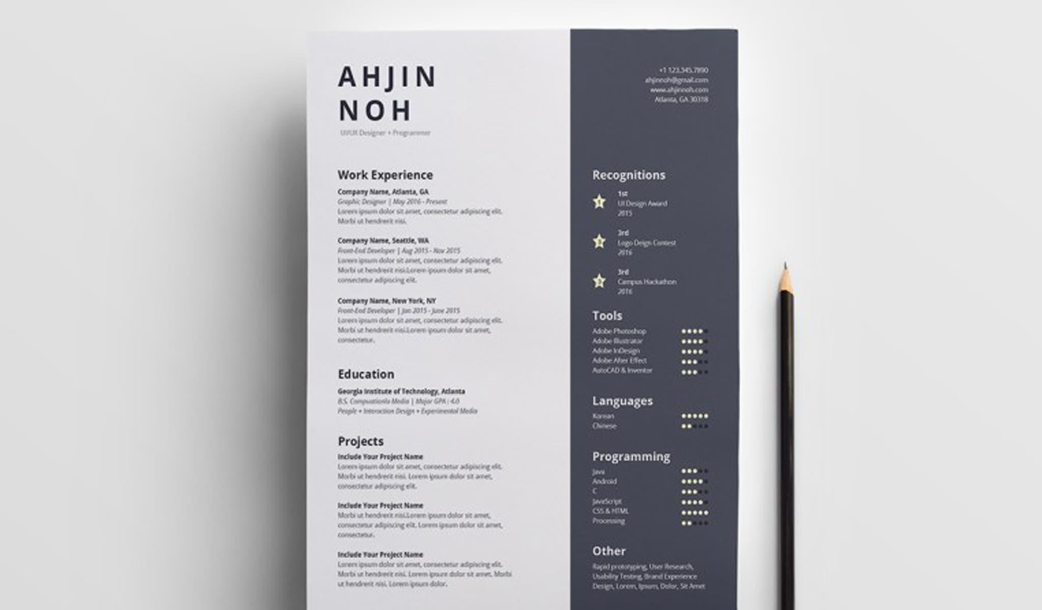 Minimal Free InDesign Resume Template