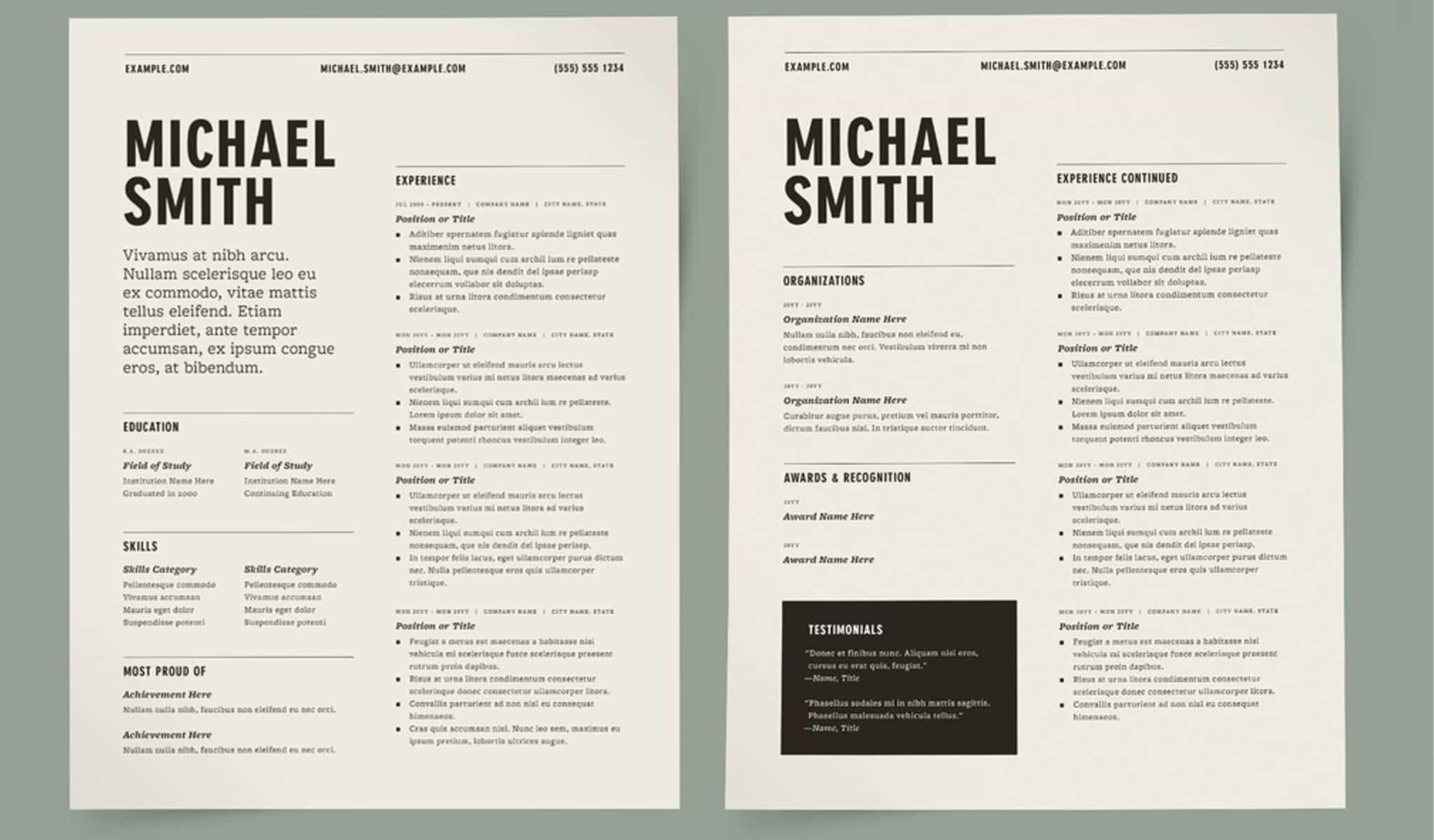 Two Column Resume
