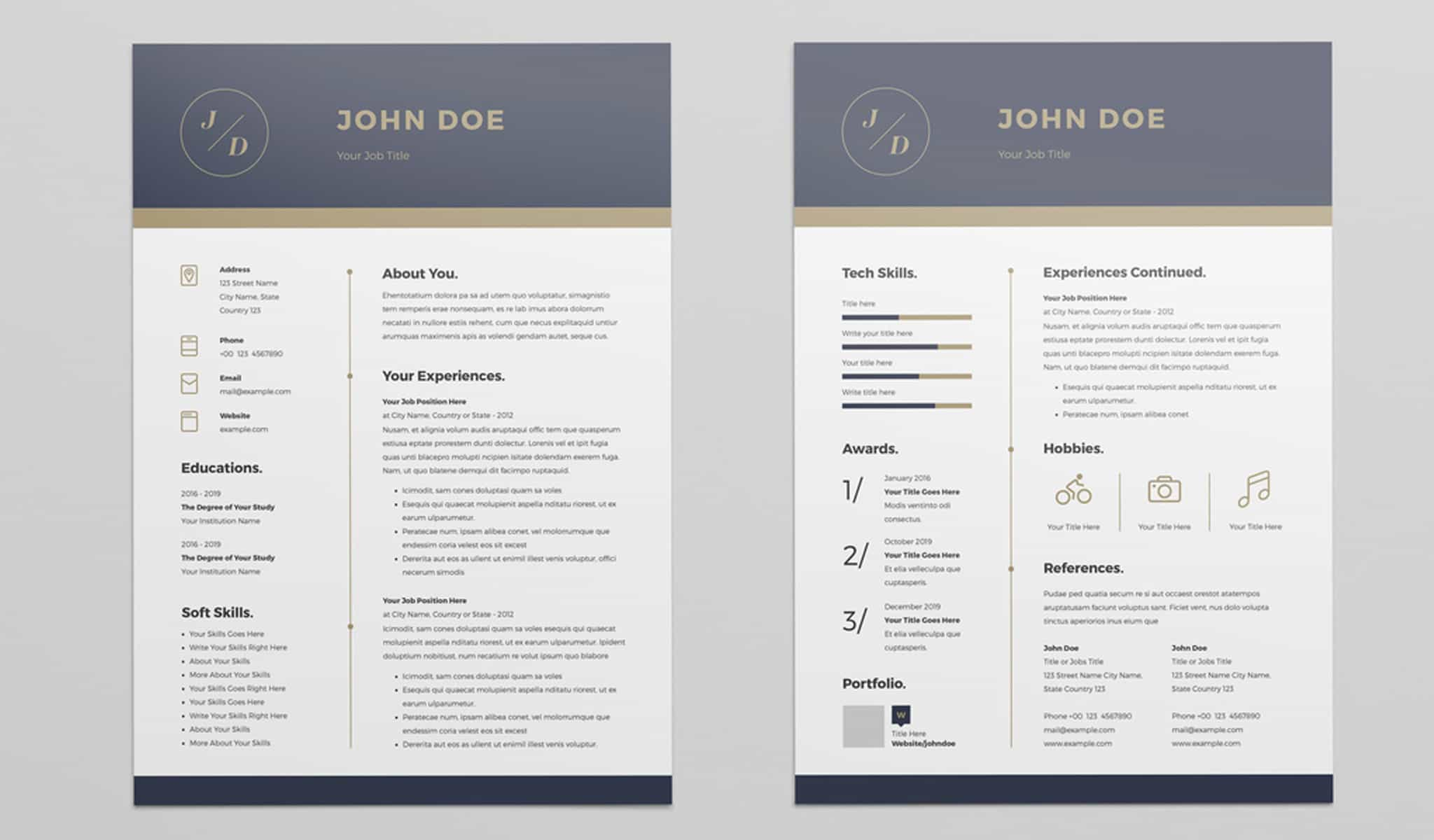 Resume Layout with Blue and Golden Header