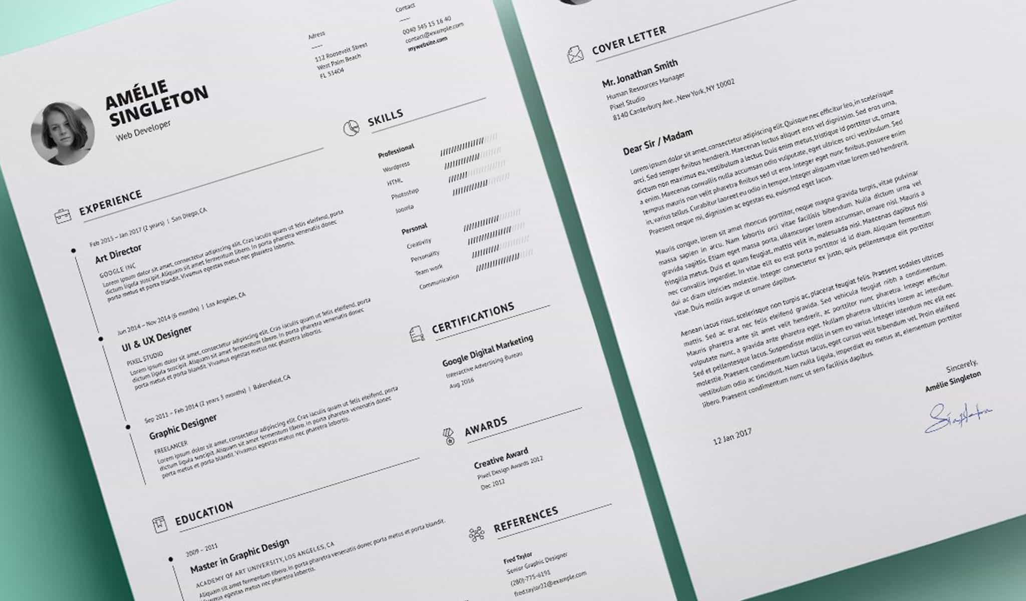 Charming resume plus cover letter