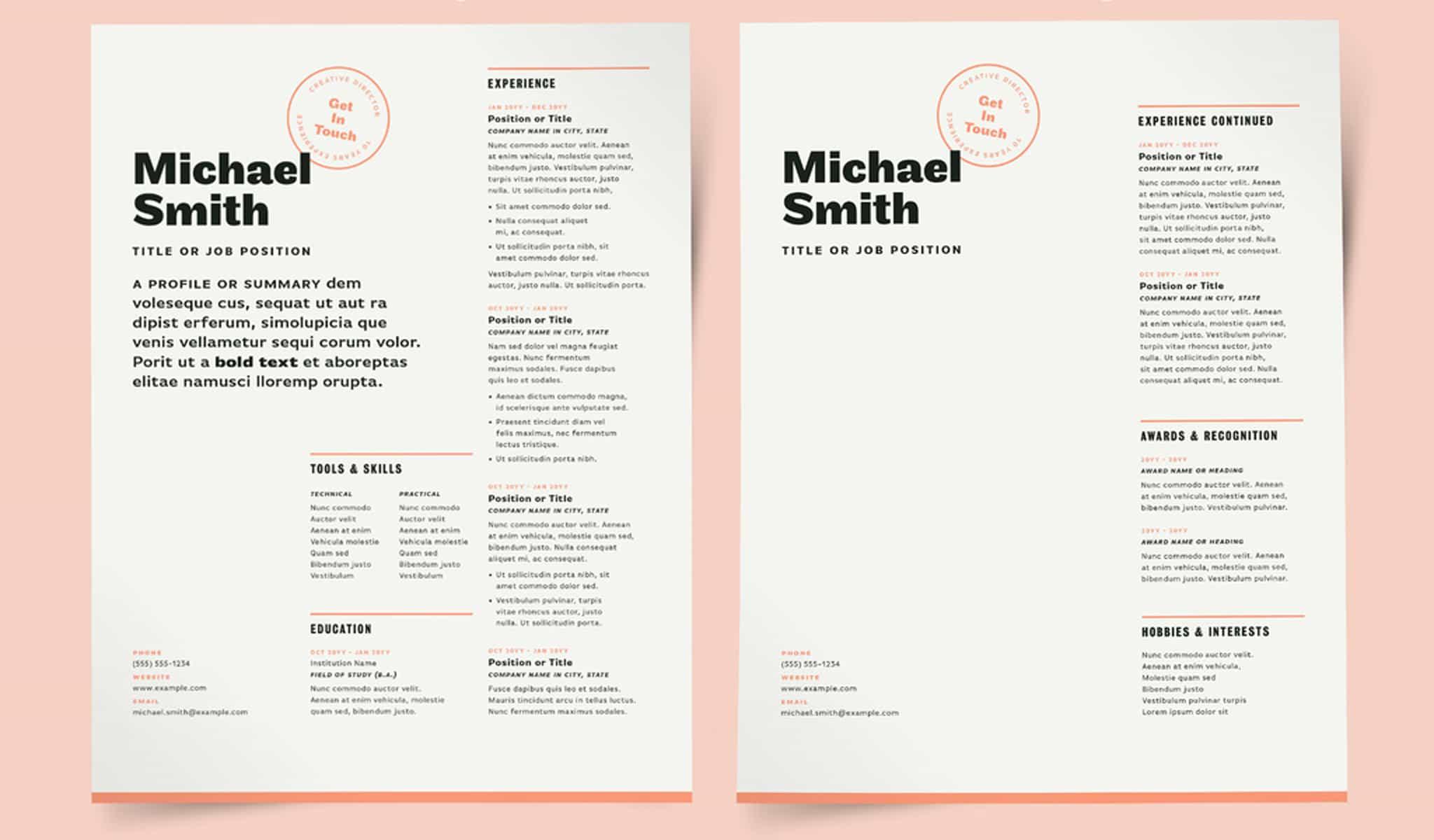 Magazine Style Resume Template