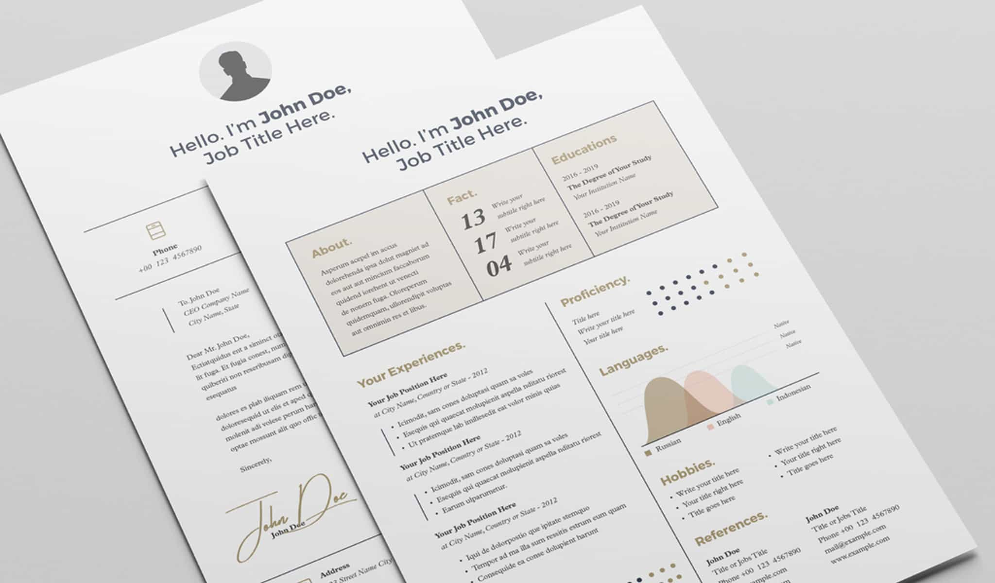 Resume Layout with Tan Accents