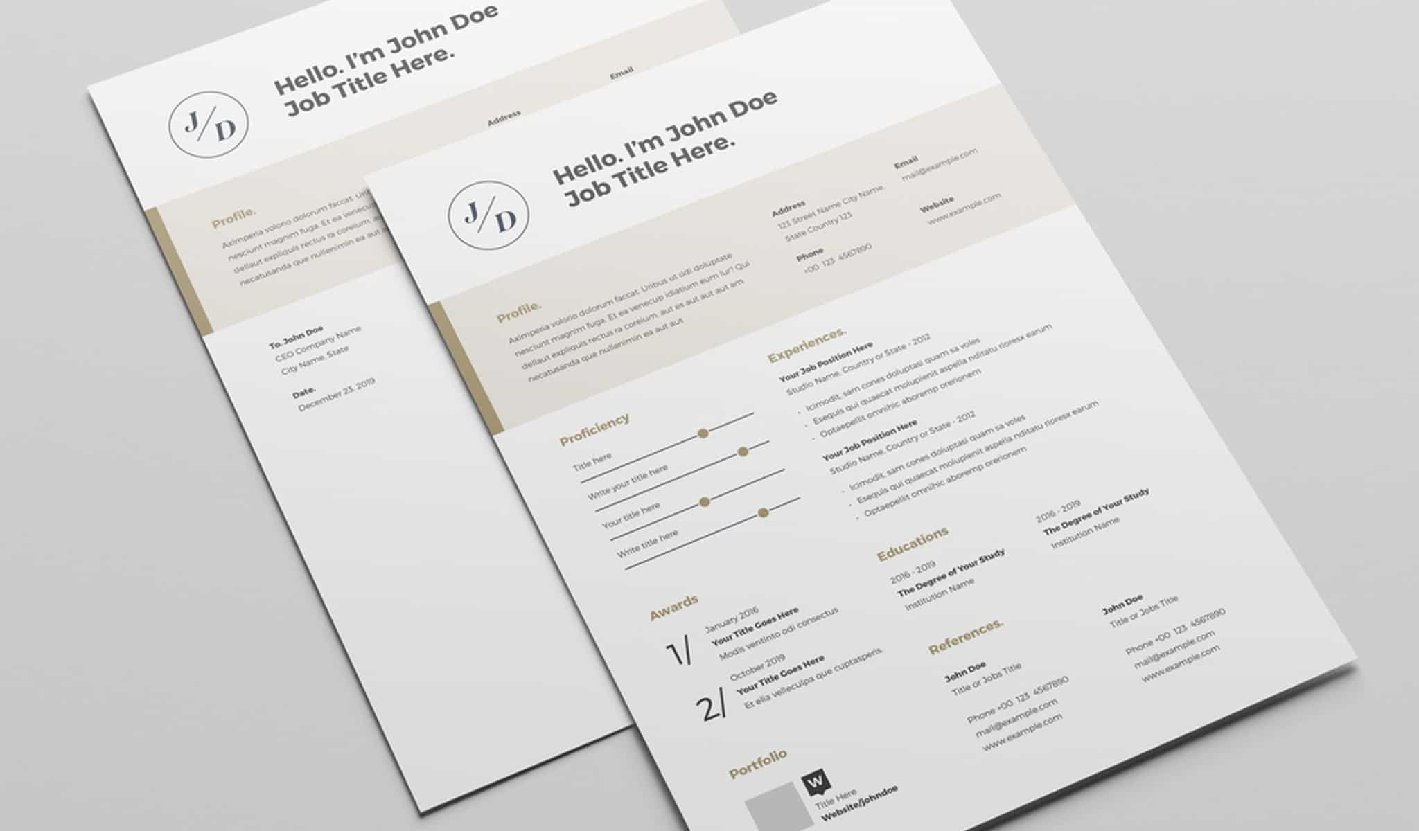 Resume Layout with Tan Header