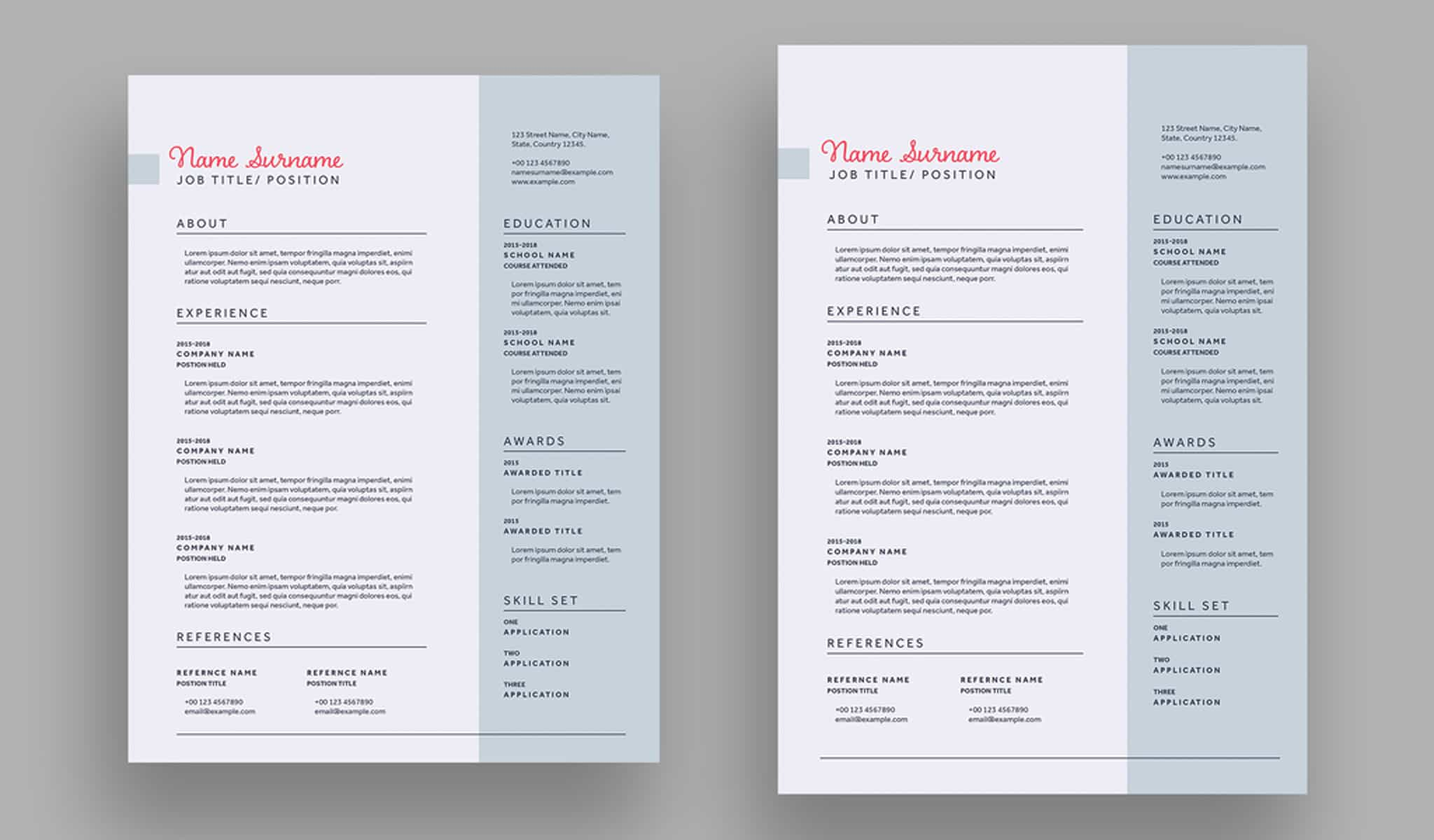 Resume Layout with Blue-Gray Sidebar