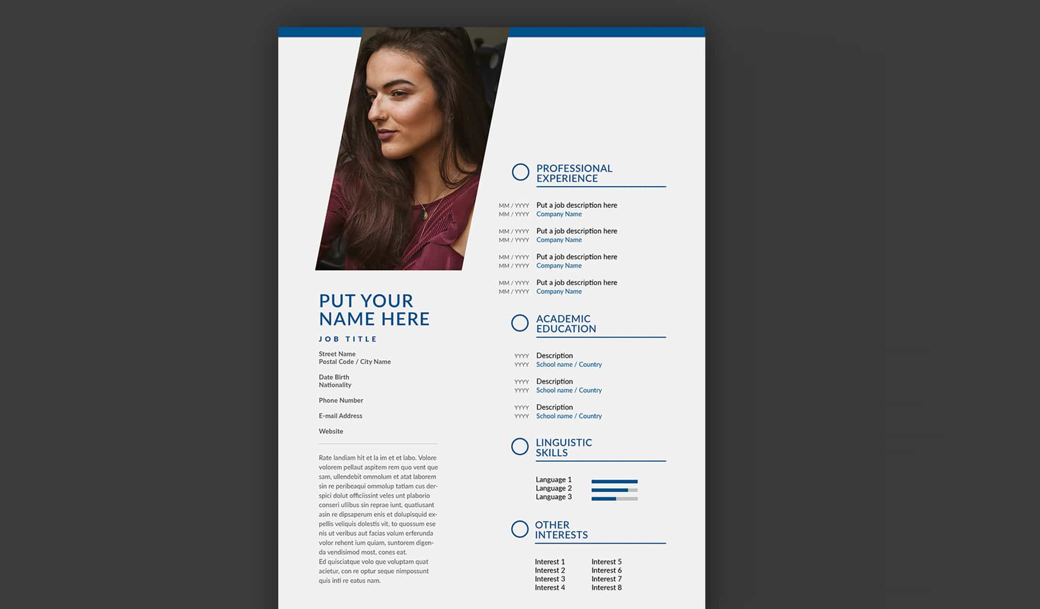 Resume Layout with Grey and Blue Accents