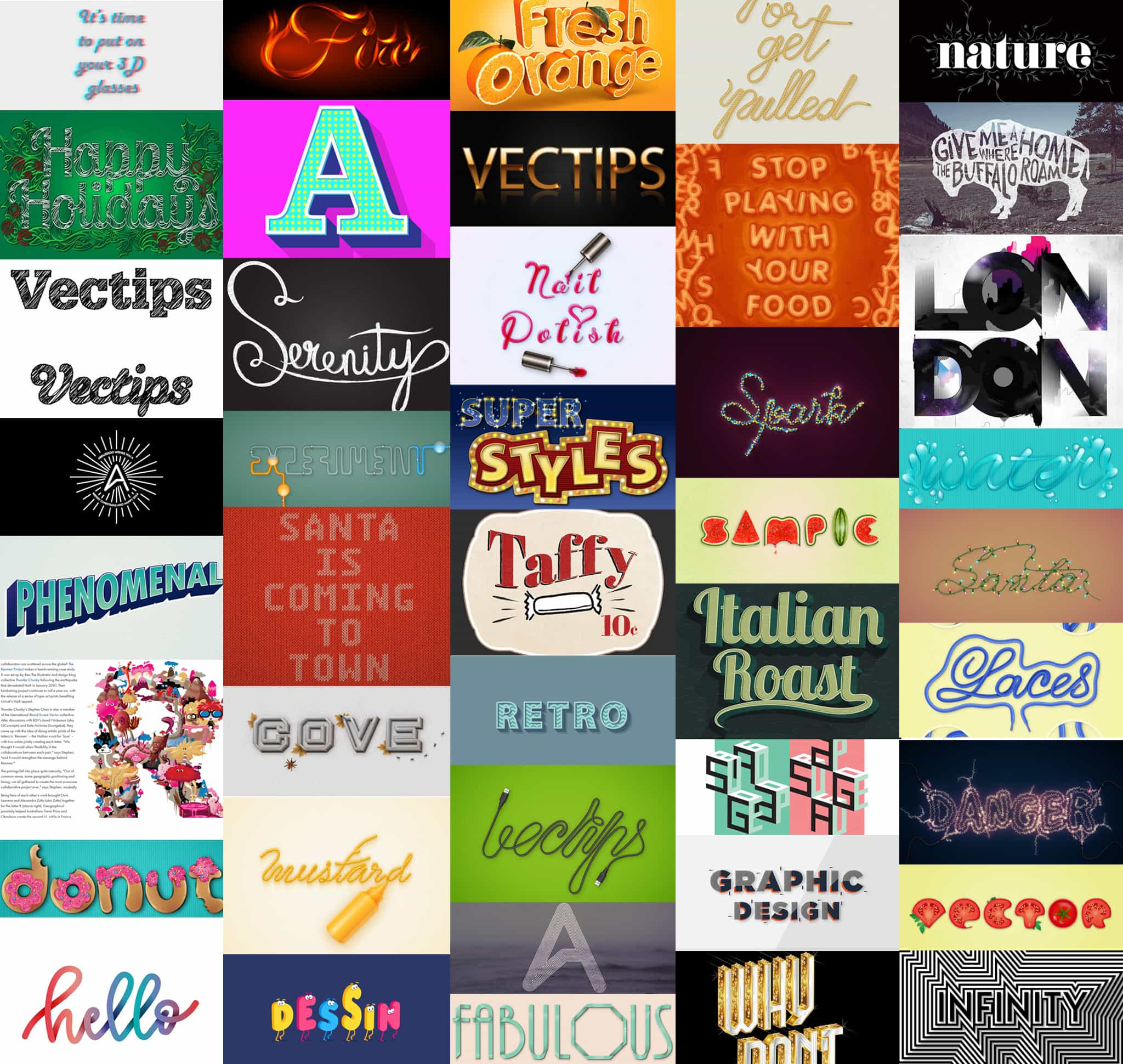 Examples of text effects in Illustrator