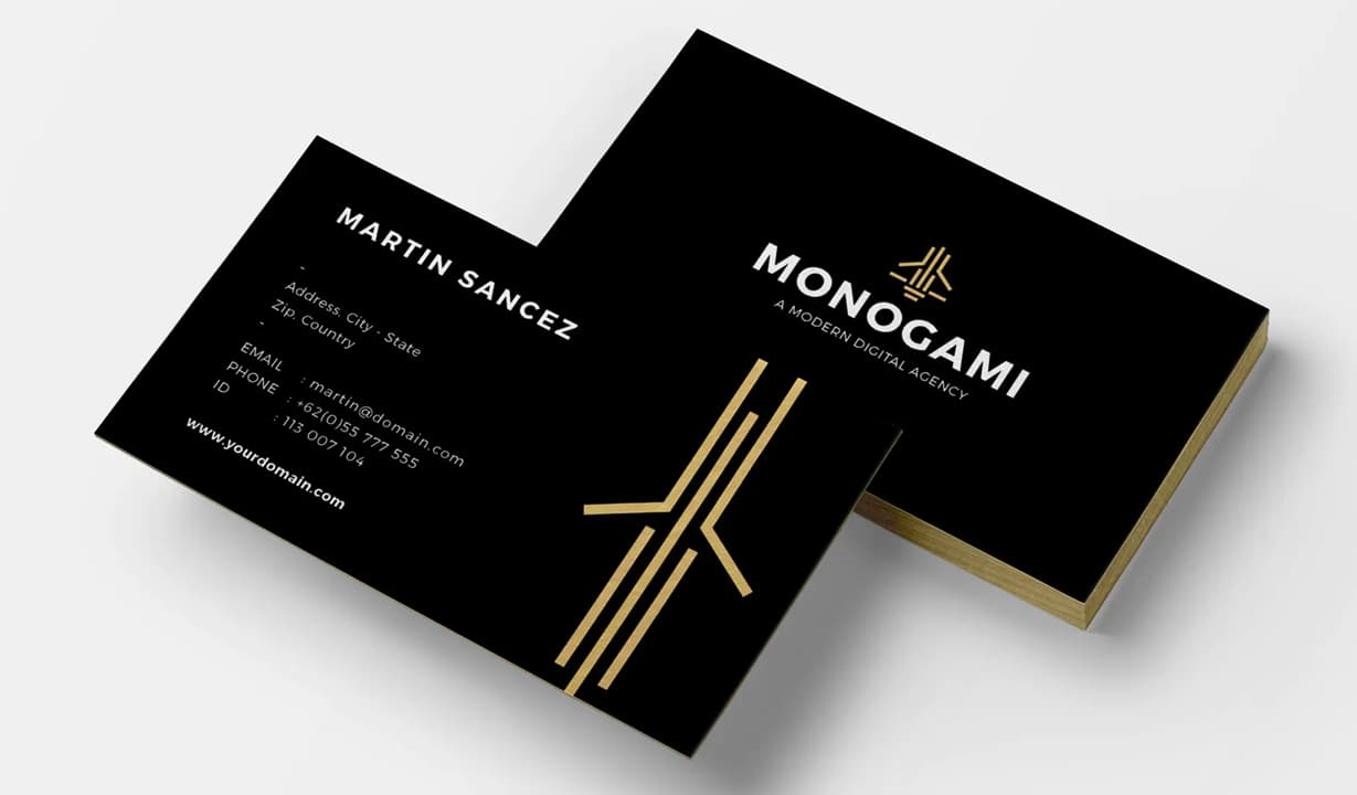 Black and Gold Business Cards Template Preview
